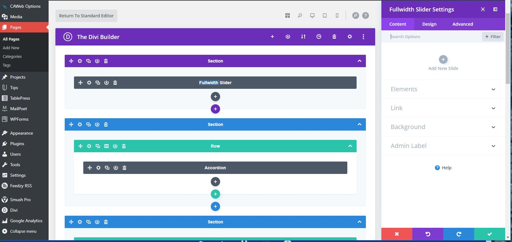 New Divi Builder view of the Page Layout with the content editor on the right.