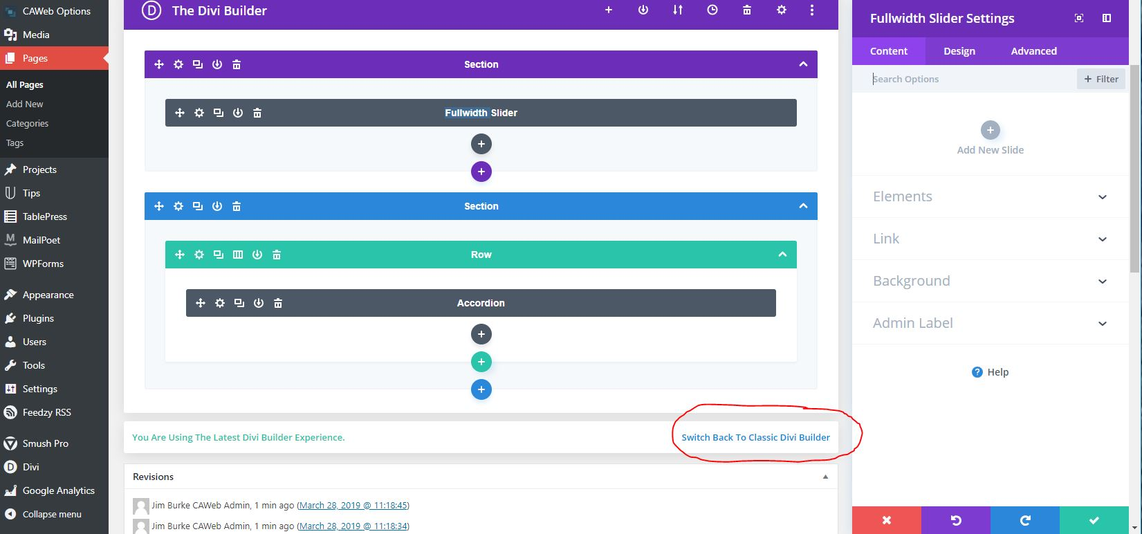 Switch Back to Classic Divi Builder is circled